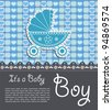 Bright baby boy card - stock vector