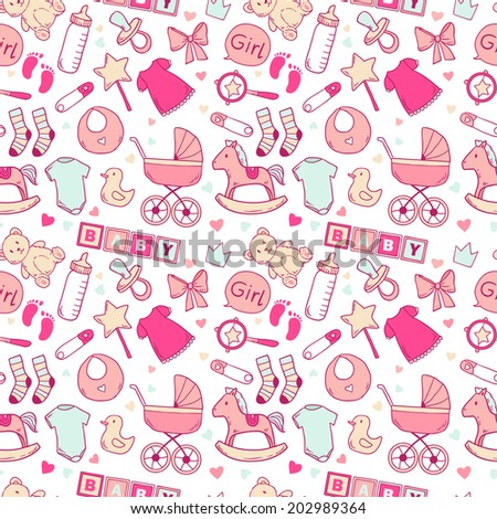 Bright baby girl seamless pattern with cute newborn elements - stock vector