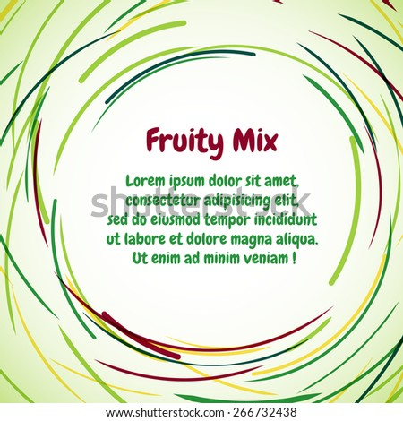 Bright background for greeting cards, badges, cards on the theme of ecology and healthy eating. Can be used to decorate images of fruits and vegetables. Vector circular pattern. - stock vector