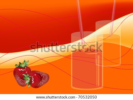 Bright background of the delicious berries and juices. Freshly squeezed juices. - stock vector
