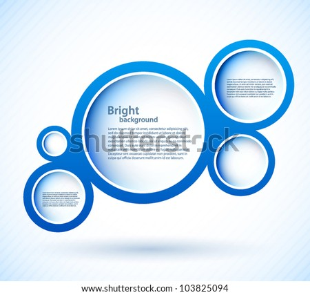 Bright background with blue circles and lights - stock vector