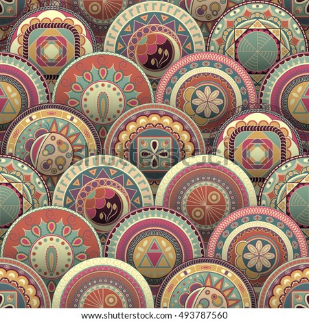 Bright background with colored circles. Round decorative elements. Seamless template