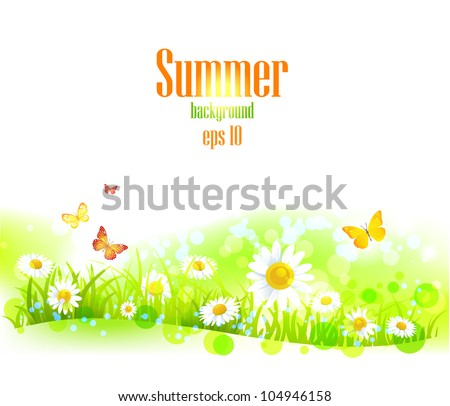 Bright  background with flowers with space for text. - stock vector