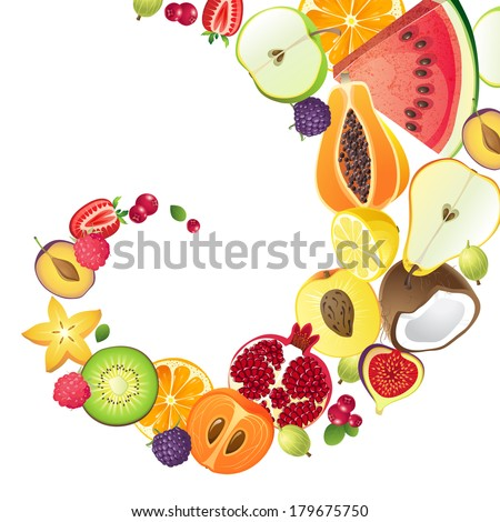Bright background with fresh fruits - stock vector
