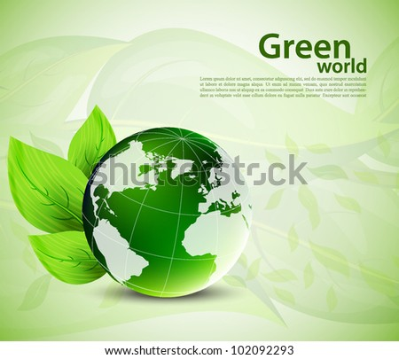 Bright background with globe and green leaves