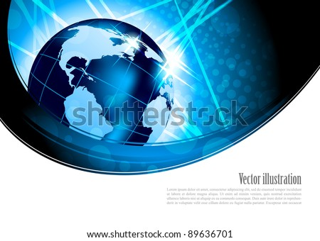 Bright background with globe in blue color