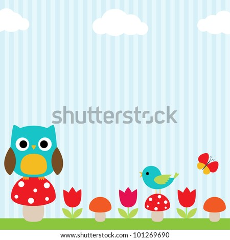 Bright background with owl, bird, butterfly, mushrooms and flowers - stock vector