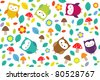 Bright background with owls, leafs, mushrooms and flowers. Seamless pattern. - stock vector