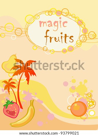 bright background with palm tree, fruits and text
