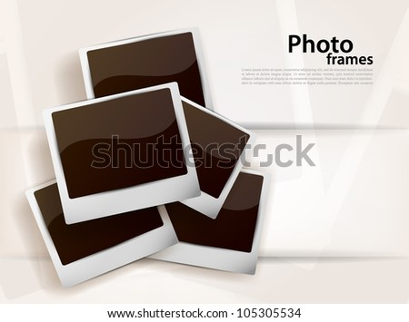 Bright background with photoframes and white line - stock vector