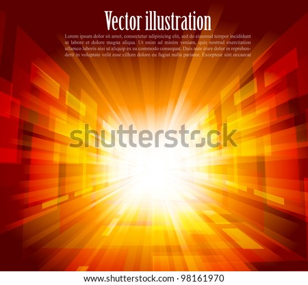Bright background with rays in orange color - stock vector