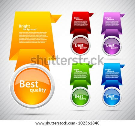 Bright background with set of colorful design elements
