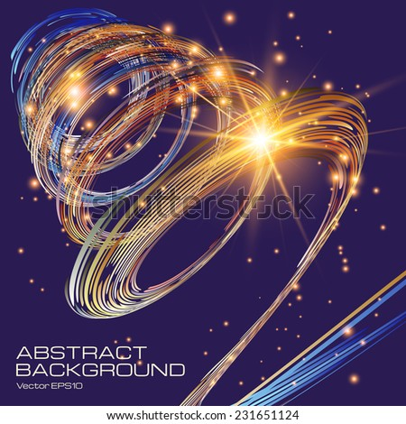 Bright background with the shining spiral. The illustration contains transparency and effects. EPS10  - stock vector