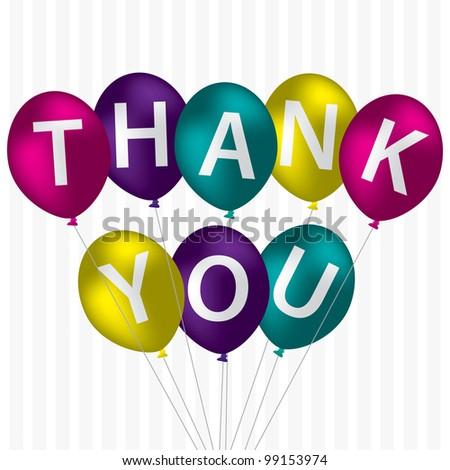 "Bright balloon bunch ""Thank You"" card in vector format. - stock vector"
