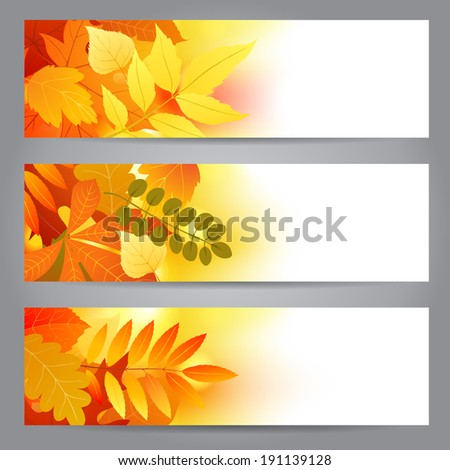 Bright banners with autumn leaves