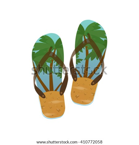 Bright beach Flip flops on a white background. Vector illustration.