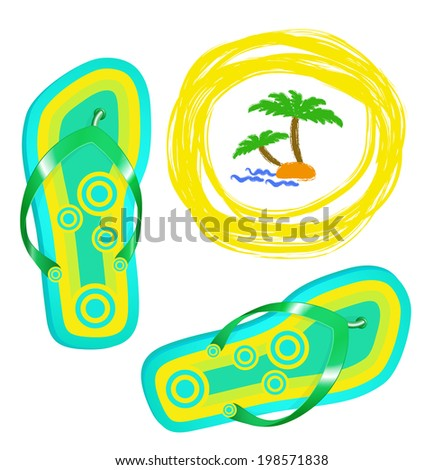 Bright beach shoes.Summer background. - stock vector