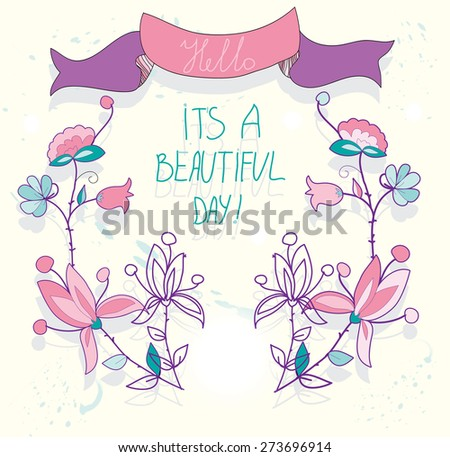 bright beautiful background greeting card with flowers and ribbon and the inscription day - stock vector