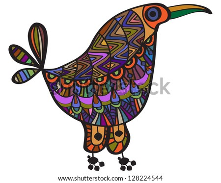 Bright bird from different ethnic color elements - stock vector