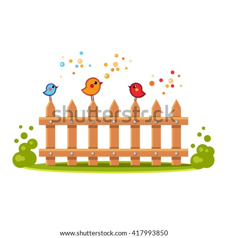 Bright birds sitting and singing on a wooden fence with green bushes and grass around. Cartoon summer illustration. Cute animals - stock vector