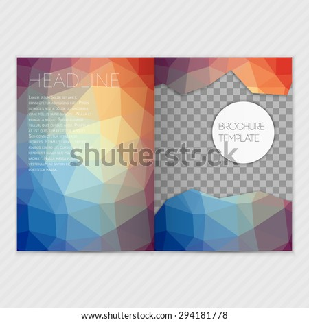 Bright blue and red  modern polygonal color background with bright triangles. The best template for your broshure. Vector illustration EPS 10. - stock vector