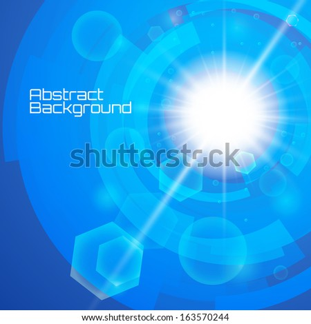 Bright blue background. Sun burst with lens flare. Vector illustration. Stock Vector - stock vector