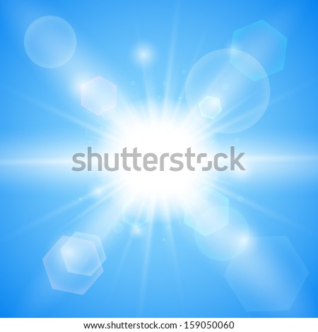 Bright blue background. Winter sun burst with lens flare. Vector illustration. Stock Vector - stock vector