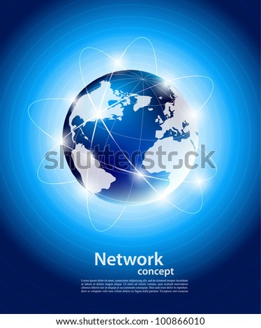 Bright blue background with orbit of globe - stock vector