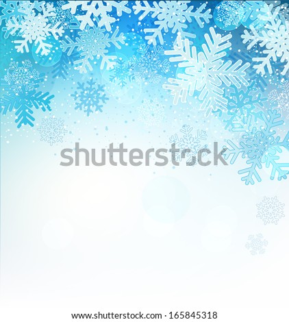 Bright blue background with snowflakes, vector illustration - stock vector