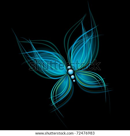 Bright blue butterfly isolated on black background - stock vector