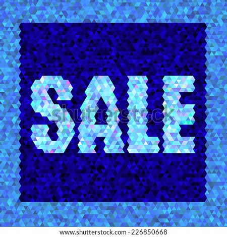 Bright blue geometric triangular background card with big letters announcing sale.