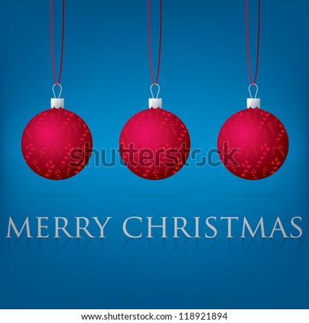 Bright blue Merry Christmas bauble card in vector format. - stock vector