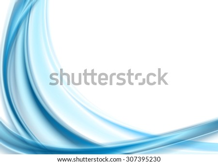 Bright blue smooth waves on white background. Vector art design - stock vector