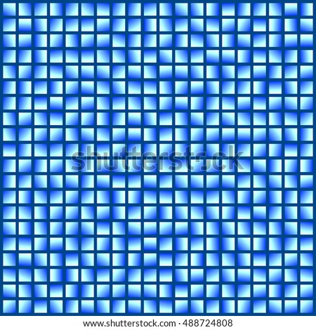 Bright blue squares on a dark background.