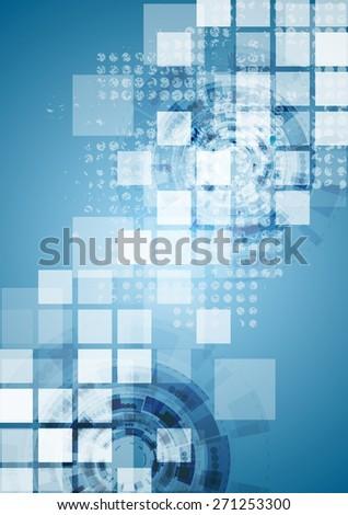 Bright blue tech background. Vector design - stock vector