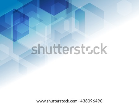 Bright blue tech geometric background with hexagons. Vector design - stock vector