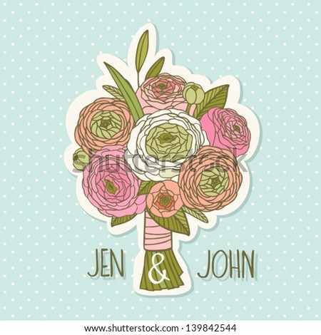 Bright bouquet made of roses in vector. - stock vector