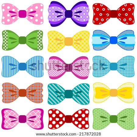 Bright bow collection (elements not merged together, patterns easily removed in vector programs)  - stock vector