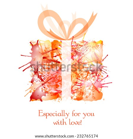 bright box with a gift from the ink spots - stock vector