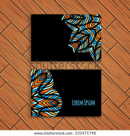 Bright business card template,vector illustration - stock vector