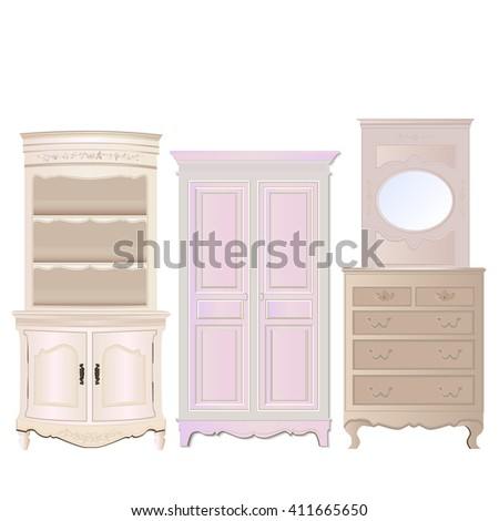 bright cabinets on a white background, vector illustration  - stock vector