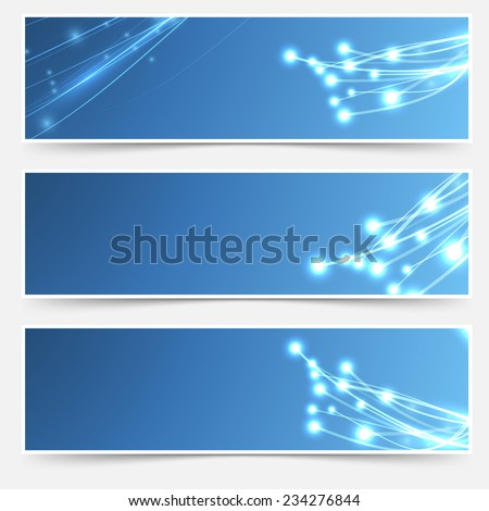 Bright cable sparkle flyer header footer set. Vector illustration - stock vector