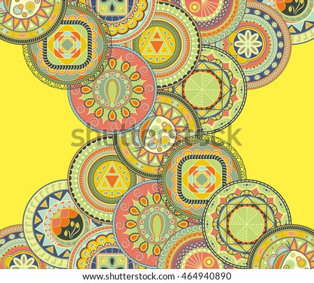 Bright card with colored circles. Round decorative elements