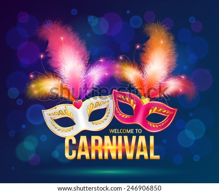 Bright carnival masks on dark blue background, vector flyer template - stock vector