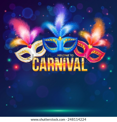Bright carnival masks on dark blue background, vector flyer template. Mardi Gras - stock vector
