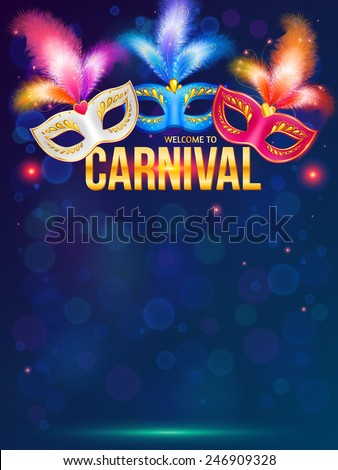 Bright carnival masks on dark blue background vector poster template - stock vector