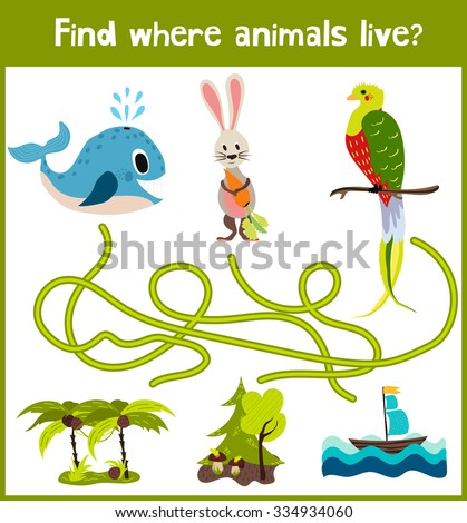 Bright cartoon educational puzzle game for children of preschool and school ages. Where to find what animals live in the sea whale, forest Bunny, and a bird from the tropics. Vector illustration