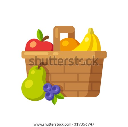 bright cartoon fruit basket icon apple orange bananas pear and blueberry