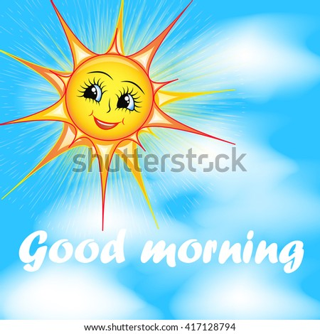 bright cartoon illustration of a smiling sun in the sky and the words good morning - stock vector