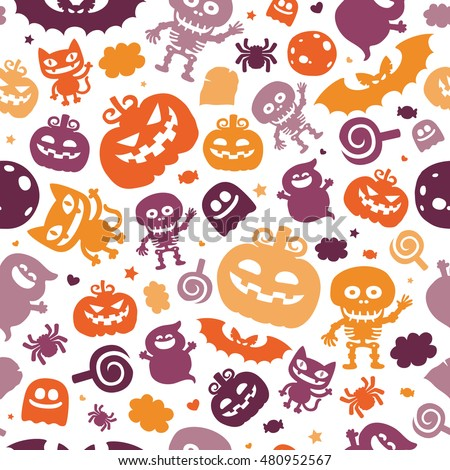 Bright cartoon pattern for Halloween
